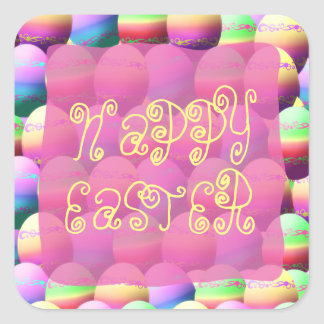 Colorful Happy Easter Eggs Square Sticker