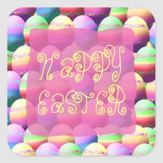 Colorful Happy Easter Eggs Stickers