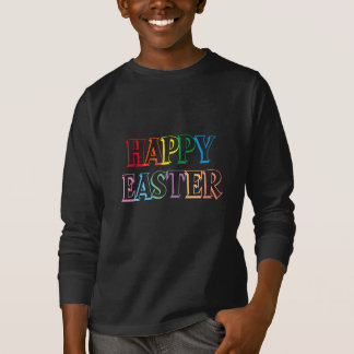 Colorful Happy Easter Greeting Typography T-Shirt