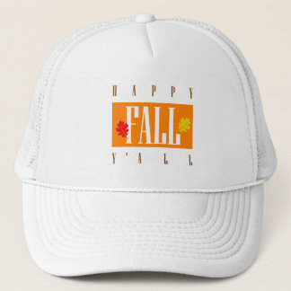 Colorful Happy Fall Y'All Autumn Leaves Trucker Hat