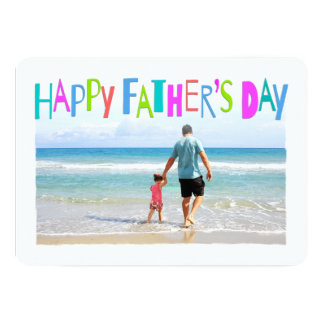 Colorful Happy Father's Day Feathered Frame Photo 13 Cm X 18 Cm Invitation Card