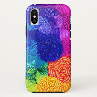 Colorful Happy Floral Rainbow Pattern iPhone X Case