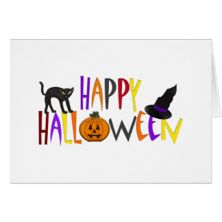 Colorful Happy Halloween Greeting Card