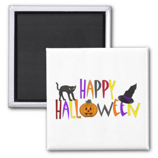 Colorful Happy Halloween Square Magnet