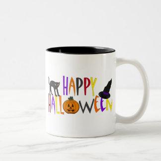 Colorful Happy Halloween Two-Tone Mug