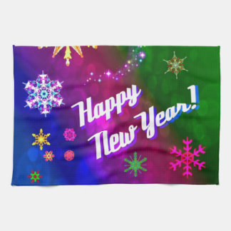 Colorful Happy New Happy Year Tea Towels