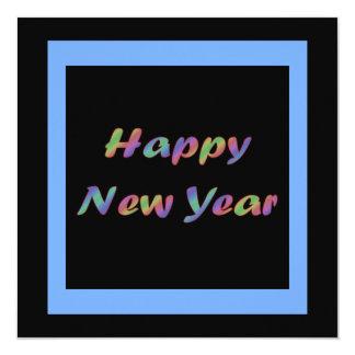 Colorful Happy New Year 13 Cm X 13 Cm Square Invitation Card