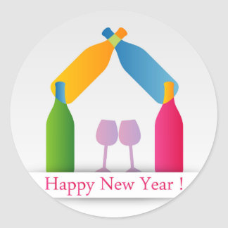 Colorful happy new year card round sticker