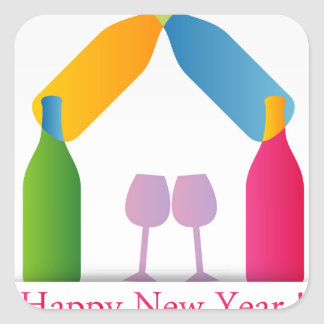 Colorful happy new year card square sticker