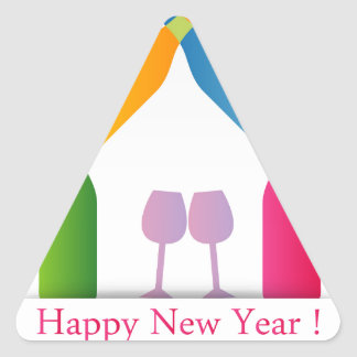 Colorful happy new year card triangle sticker