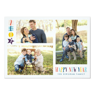 Colorful Happy New Year Icons 3-Photo Card 13 Cm X 18 Cm Invitation Card