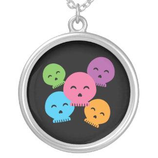 Colorful Happy Skulls Round Pendant Necklace