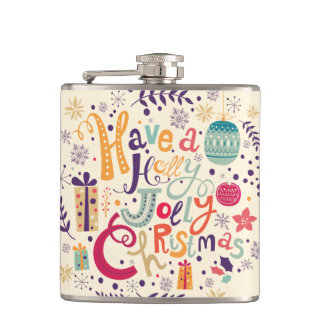 Colorful Have A Holly Jolly Christmas Flasks