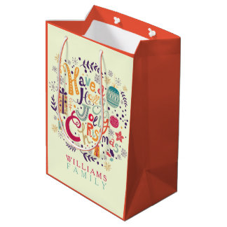 Colorful  Have A Holly Jolly Christmas Medium Gift Bag