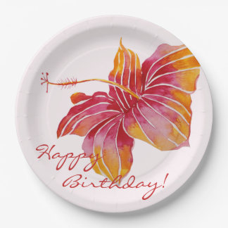 Colorful Hawaiian Floral Birthday Paper Plates