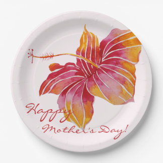 Colorful Hawaiian Floral Mother's Day Paper Plates