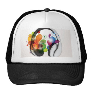 Colorful headphone music design trucker hat