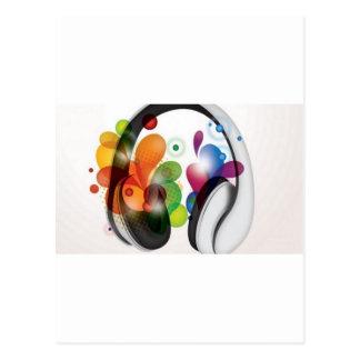 Colorful headphone music design postcard