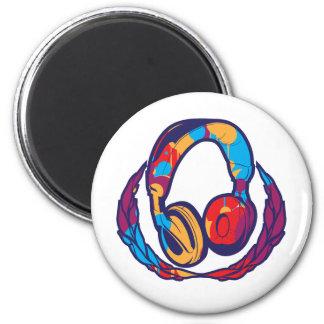Colorful Headphones 6 Cm Round Magnet