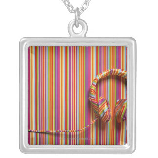 Colorful Headphones Silver Plated Necklace