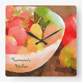 Colorful Healthy Fruits & Vegetables Watercolor Square Wall Clock