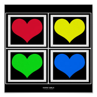 Colorful Heart Blocks (black) Poster