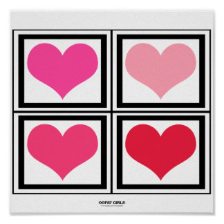 Colorful Heart Blocks (pink) Poster