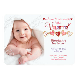 Colorful Heart Cookies Valentine Birth Photo Card 13 Cm X 18 Cm Invitation Card