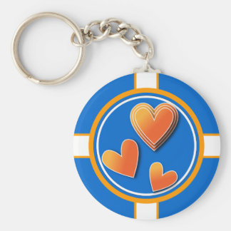 Colorful heart design basic round button key ring