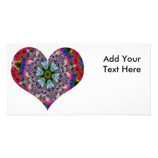 Colorful Heart Kaleidoscope Customized Photo Card