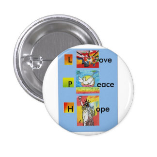 Colorful heart love peace hope button