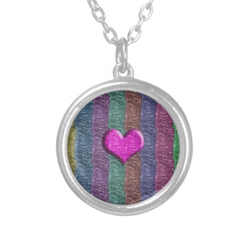 Colorful Heart Metal Mesh Custom Necklace