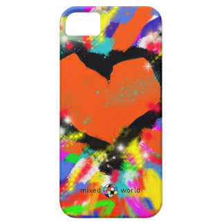 colorful heart, peace and love iPhone 5 case