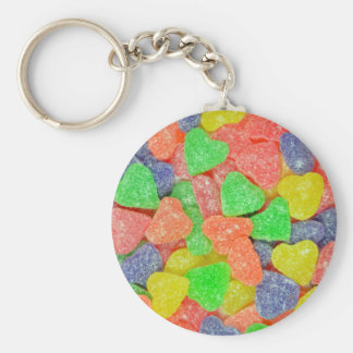 Colorful heart shaped candy basic round button key ring