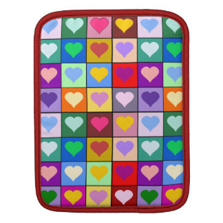 Colorful Heart Squares iPad Sleeve