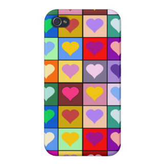 Colorful Heart Squares iPhone 4 Cover