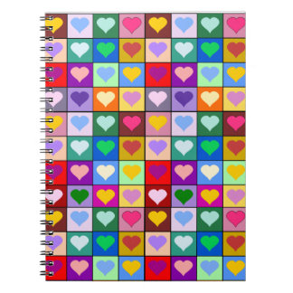 Colorful Heart Squares Notebook