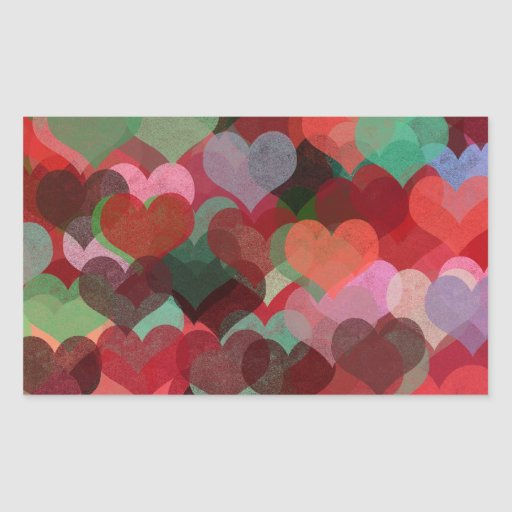colorful hearts abstract illustration rectangular sticker