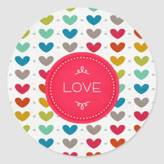Colorful Hearts And A Stitch Of Love Stickers