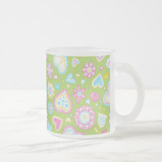 Colorful hearts and flowers pattern frosted glass mug