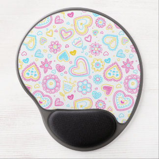 Colorful hearts and flowers pattern gel mouse pad