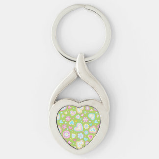 Colorful hearts and flowers pattern Silver-Colored twisted heart key ring