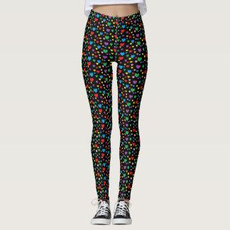 Colorful hearts black leggings