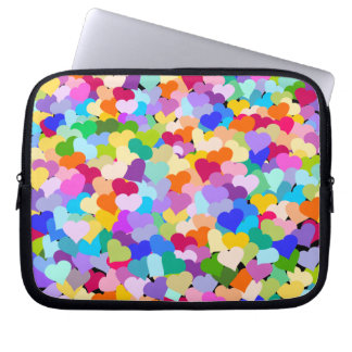 Colorful Hearts Confetti laptop case
