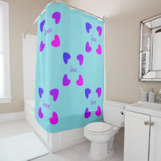Colorful hearts girly shower curtain