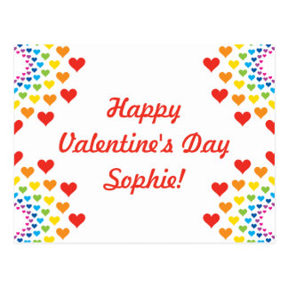 Colorful Hearts Happy Valentine's Day Custom Name Postcard