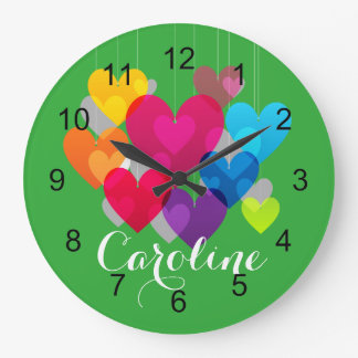 Colorful Hearts Monogrammed Large Clock