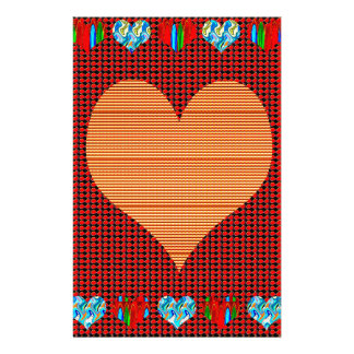 Colorful Hearts n Sheet Music Symbols Love Romance Personalized Stationery