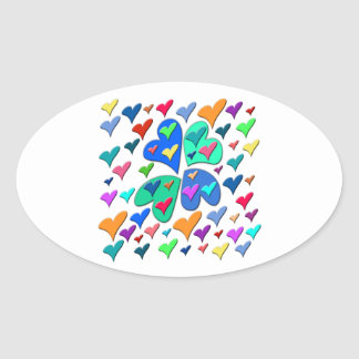 Colorful Hearts Oval Sticker