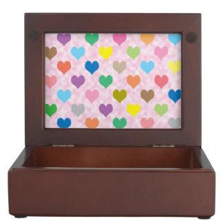 Colorful hearts pattern keepsake box